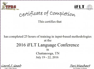 iFLT 2016 Certificate
